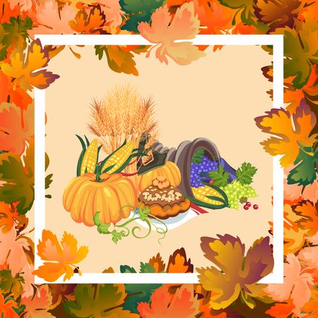 Oogst biologisch voedsel zoals fruit en groenten, happy thanksgiving diner kaart of banner achtergrond, oogsten vector illustratie, pompoen en stapel tarwe oren, cranberry bessen, druiventrossen