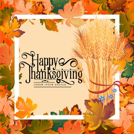 De kalligrafiekaart van Thanksgiving day. De herfst achtergrondlay-out verfraait bladeren het winkelen verkoop of promoposter en kaderpamflet, Webbanner Vectorillustratiemalplaatje. Geroosterd Turkije, wijn ingelijst leafe.