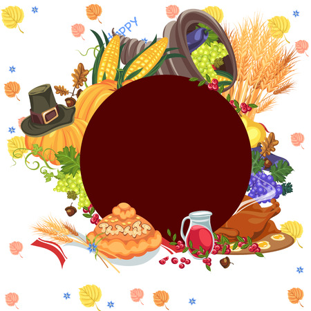 Harvest organic foods like fruit and vegetables, happy thanksgiving dinner card or banner background, harvesting vector illustration, pumpkin and stack wheat ears, cranberry berries, bunches of grapes