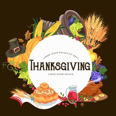 Harvest organic foods like fruit and vegetables, happy thanksgiving dinner card or banner background, harvesting grapes vector illustration Imagens - 90742140
