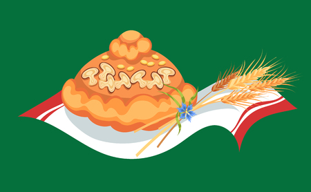 Freshly baked bread lies on a towel, pastry for Thanksgiving day, greeting card with spikelets of wheat as a symbol of harvest vector illustration Imagens - 90742141