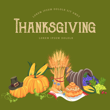 Harvest set, organic foods like fruit and vegetables, happy thanksgiving dinner background, vector illustration harvesting with pumpkin and stack of wheat ears, cranberry berries, bunches of grapes Imagens - 90742142