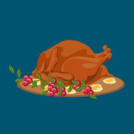 Geroosterde hele kip of kalkoen sauced en gegrilde herfst groenten, wijn geïsoleerd op een witte achtergrond met gele, oranje bladeren. Thanksgiving day voedsel concept Stock Illustratie