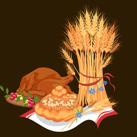 Harvest set, organic foods like fruit and vegetables, happy thanksgiving dinner background, vector illustration harvesting with stack of wheat ears, cranberry berries, bunches of grapes