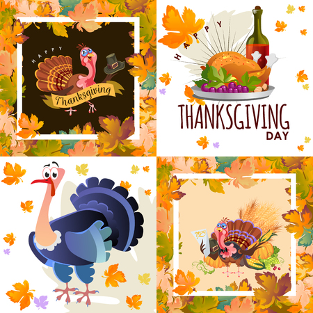 Harvest set, organic foods like fruit and vegetables, happy thanksgiving dinner background, vector illustration harvesting with pumpkin and stack of wheat ears, cranberry berries, bunches of grapes Imagens - 90742147