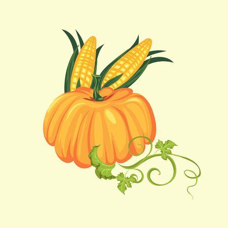 pompoen met twee maïskolven in groene bladeren, herfst voedsel achtergrond vectorillustratie, plantaardige oogsten, thanksgiving day producten Stockfoto