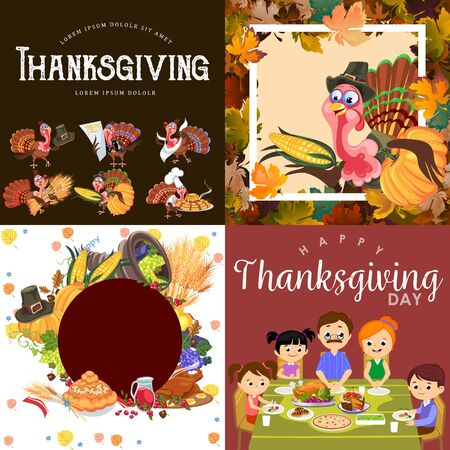 Harvest set, organic foods like fruit and vegetables, happy thanksgiving dinner background, vector illustration harvesting with pumpkin and stack of wheat ears, cranberry berries, bunches of grapes Imagens - 90742151