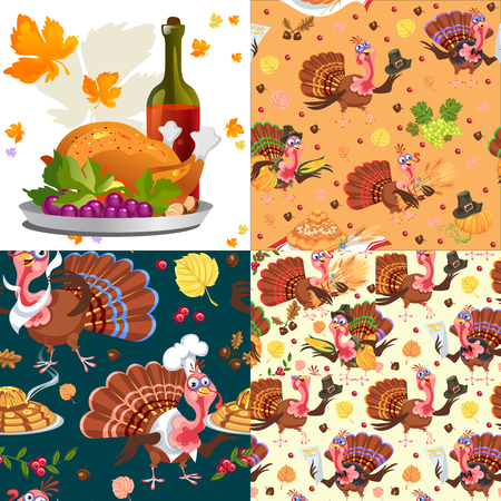 Harvest set, organic foods like fruit and vegetables, happy thanksgiving dinner background, vector illustration harvesting with pumpkin and stack of wheat ears, cranberry berries, bunches of grapes Imagens - 90742158