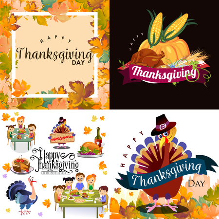 Harvest set, organic foods like fruit and vegetables, happy thanksgiving dinner background, vector illustration harvesting with pumpkin and stack of wheat ears, cranberry berries, bunches of grapes Imagens - 90742159