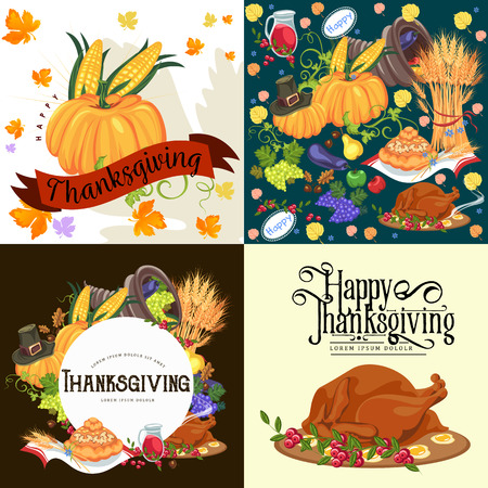 Harvest set, organic foods like fruit and vegetables, happy thanksgiving dinner background, vector illustration harvesting with pumpkin and stack of wheat ears, cranberry berries, bunches of grapes Imagens - 90742160