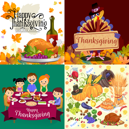 Harvest set, organic foods like fruit and vegetables, happy thanksgiving dinner background, vector illustration harvesting with pumpkin and stack of wheat ears, cranberry berries, bunches of grapes Imagens - 90742161