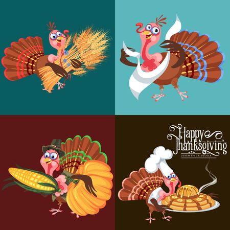 Harvest set, organic foods like fruit and vegetables, happy thanksgiving dinner background, vector illustration harvesting with pumpkin and stack of wheat ears, cranberry berries, bunches of grapes Imagens - 90742163