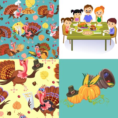 Harvest set, organic foods like fruit and vegetables, happy thanksgiving dinner background, vector illustration harvesting with pumpkin and stack of wheat ears, cranberry berries, bunches of grapes Imagens - 90742166
