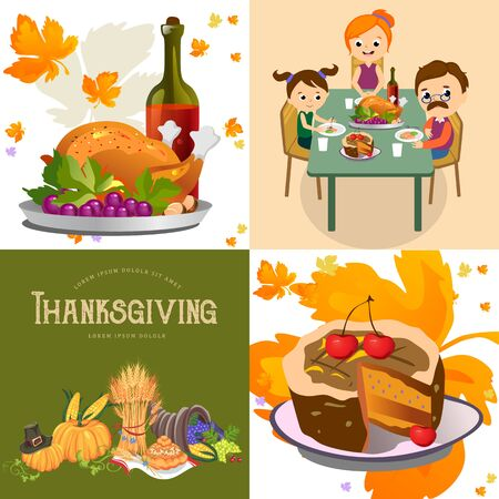 Harvest set, organic foods like fruit and vegetables, happy thanksgiving dinner background, vector illustration harvesting with pumpkin and stack of wheat ears, cranberry berries, bunches of grapes Imagens - 90742168