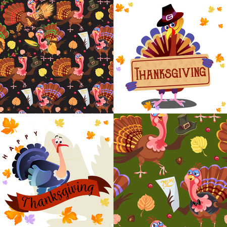 Oogst set, biologische voedingsmiddelen zoals groenten en fruit, happy thanksgiving diner achtergrond, vectorillustratie verzamelen met pompoen en stapel van tarwe oren, cranberry bessen, druiventrossen