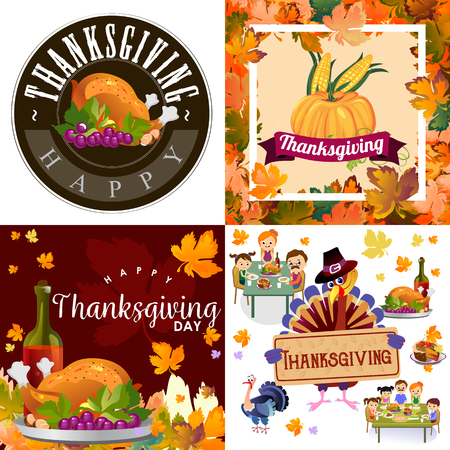 Harvest set, organic foods like fruit and vegetables, happy thanksgiving dinner background, vector illustration harvesting with pumpkin and stack of wheat ears, cranberry berries, bunches of grapes Imagens - 90742172