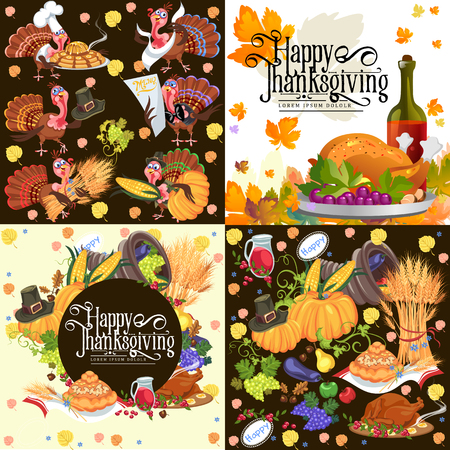 Harvest set, organic foods like fruit and vegetables, happy thanksgiving dinner background, vector illustration harvesting with pumpkin and stack of wheat ears, cranberry berries, bunches of grapes Imagens - 90742173