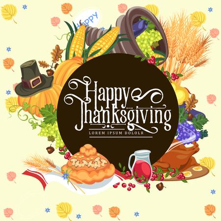 Harvest organic foods like fruit and vegetables, happy thanksgiving dinner card or banner background, harvesting vector illustration