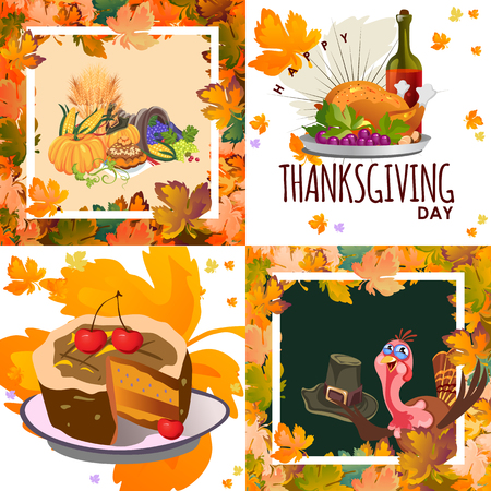 Harvest set, organic foods like fruit and vegetables, happy thanksgiving dinner background, vector illustration harvesting with pumpkin and stack of wheat ears, cranberry berries, bunches of grapes Imagens - 90742178