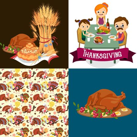Harvest set, organic foods like fruit and vegetables, happy thanksgiving dinner background, vector illustration harvesting with pumpkin and stack of wheat ears, cranberry berries, bunches of grapes Imagens - 90742179