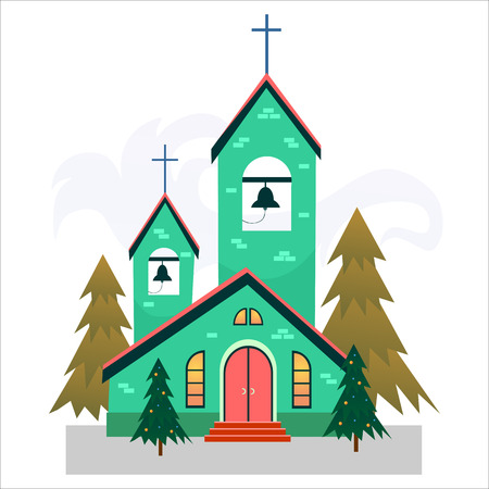 Merry christmas and happy new year card, church and green tree under snow, christianity and Catholic winter city cathedral vector illustration, religious holy background. Imagens - 91373164