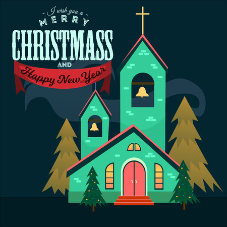 Merry christmas and happy new year card, church and green tree under snow, christianity and Catholic winter city cathedral vector illustration, religious holy background. Imagens - 91373163