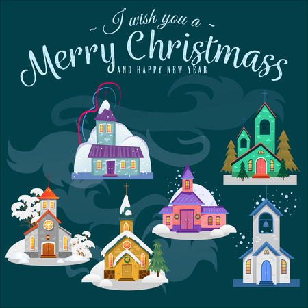 Merry christmas and happy new year card, church and green tree under snow, christianity and Catholic winter city cathedral vector illustration, religious holy background. Imagens - 91373670
