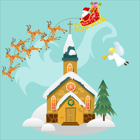 merry christmas and happy new year card, church and green tree under snow, christianity and Catholic winter cathedral vector illustration, religious holy background, Santa Claus rushes on deer sleigh