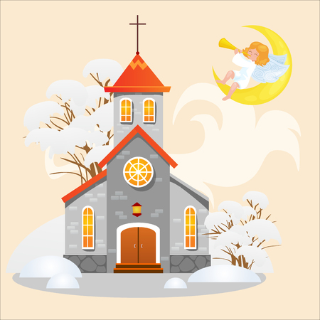 Church under snow with angel, a religious holy background illustration.