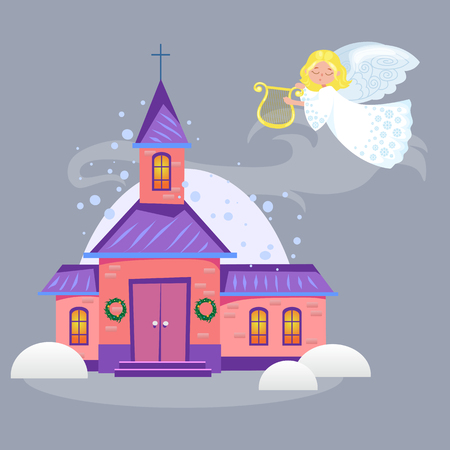 Colorful church under snow with angel playing harp, a religious holy background illustration.