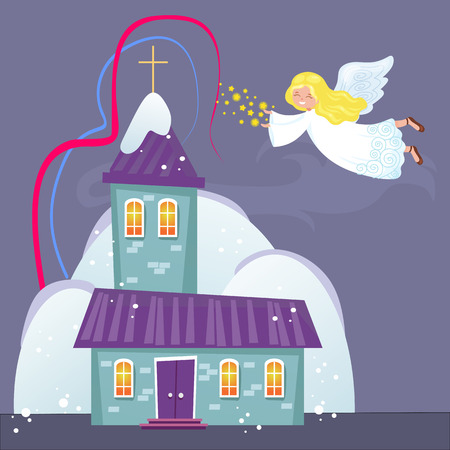 Church under snow with angel spreading sparkling dust, a religious holy background illustration.