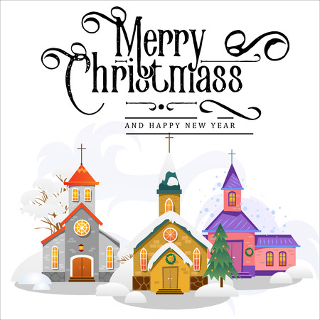 merry christmas and happy new year card, church and green tree under snow, christianity and Catholic winter city cathedral vector illustration, religious holy background Stock Illustratie