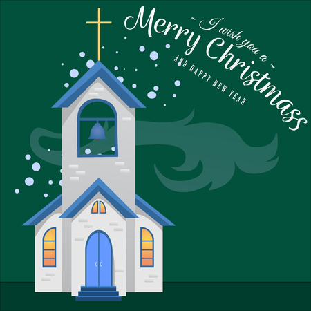 merry christmas and happy new year card, church and green tree under snow, christianity and Catholic winter city cathedral vector illustration, religious holy background Illustration