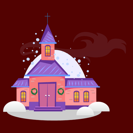 Merry christmas and happy new year card, church and green tree under snow, christianity and Catholic winter city cathedral vector illustration, religious holy background. Imagens - 91374651