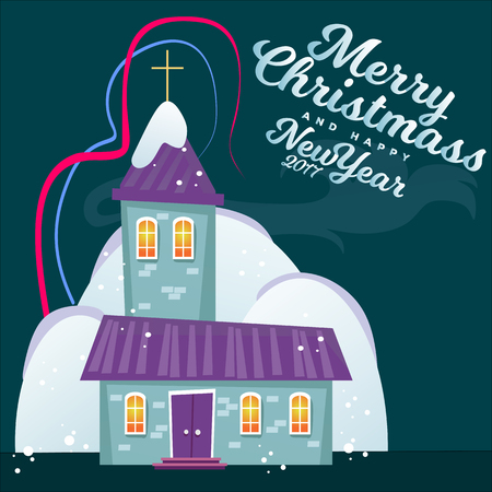 Merry christmas and happy new year card, church and green tree under snow, christianity and Catholic winter city cathedral vector illustration, religious holy background. Imagens - 91374652