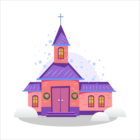 merry christmas and happy new year card, church and green tree under snow, christianity and Catholic winter city cathedral vector illustration, religious holy background Standard-Bild