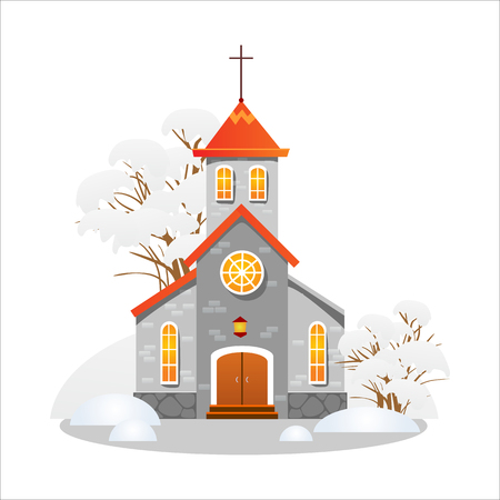 merry christmas and happy new year card, church and green tree under snow, christianity and Catholic winter city cathedral vector illustration, religious holy background Reklamní fotografie