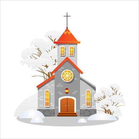 prettige kerstdagen en gelukkig nieuwjaarskaart, kerk en groene boom onder de sneeuw, christendom en katholieke winter stad kathedraal vector illustratie, religieuze heilige achtergrond