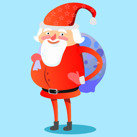 Santa Claus with hefty bag of gifts on his back congratulates everyone with Christmas and happy new year, pet dog puppy is dragging sleigh with festive boxes vector illustration. Ilustração