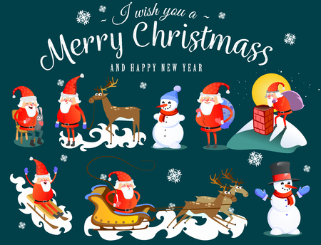 I wish you a merry christmas - Santa claus, reindeer and snowman
