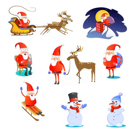 Christmas icons like santa claus with reindeer, in sleigh and snowman Imagens - 91384343
