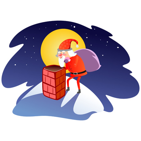 Santa Claus man in red suit and beard with bag of gifts behind him climbs into chimney, marry of christmas and happy new year vector illustration on white background card. Stock Illustratie
