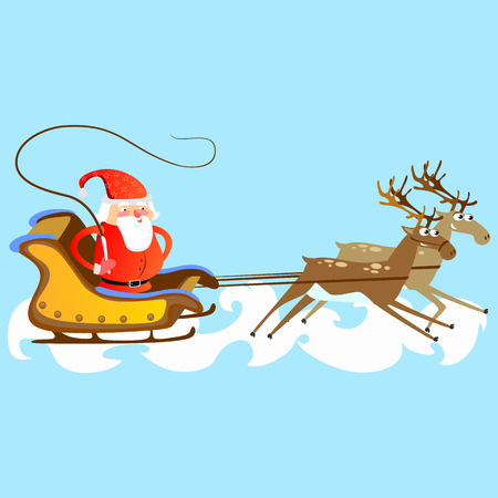 Santa claus in a red hat and jacket, with a beard rushes in a sleigh chasing his reindeer, marry of christmas and happy new year vector illustration. Ilustração
