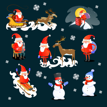 Santa Claus with snowman and deer. Stock Illustratie