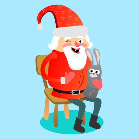 Kid in hands of Santa Claus makes wish, man in red suit and beard with bag of gifts behind him climbs into chimney, sleigh reindeer harness drive Christmas mood, merry snowman vector illustration. Imagens - 91385303