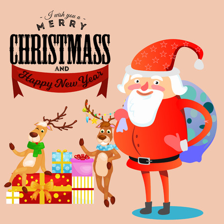 Kid in hands of Santa Claus makes wish, man in red suit and beard with bag of gifts behind him climbs into chimney, sleigh reindeer harness drive Christmas mood, merry snowman vector illustration.