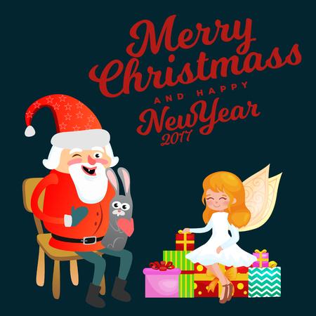 Kid in handen van de Kerstman maakt wens, man in rood pak en baard met zak met geschenken achter hem klimt in schoorsteen, slee rendieren harnas rijden kerstsfeer, vrolijke sneeuwpop vectorillustratie. Stockfoto - 91386814