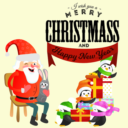 santa claus in red hat with beard sits on chair with hare in hand which makes wish, penguins in caps and scarves helps prepares gifts, marry of christmas, happy new year vector illustration.