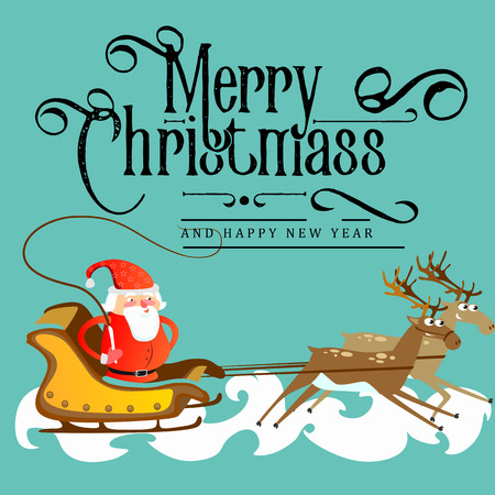 Santa claus in a red hat and jacket, with a beard rushes in a sleigh chasing his reindeer, marry of christmas and happy new year vector illustration. Stockfoto - 91386811