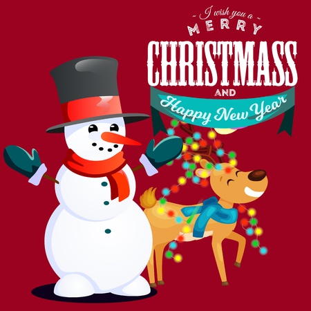 Snowman in black hat and gloves, red scarf tied around neck, nose from the markovka smiling deer in lights of herland on horns, Merry Christmas, Happy New Year vector illustration. Иллюстрация